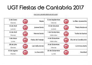 Calendario de fiestas Cantabria 2017